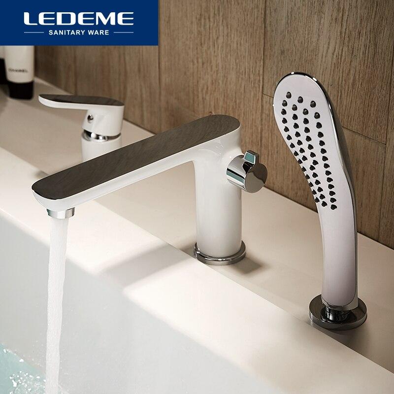 LEDEME Bathtub Faucet Bath Shower Faucet Waterfall Wall Bathroom Set Shower Tap Bath Mixer torneira grifo ducha L1153W L1153